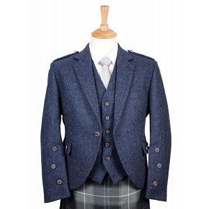 Braemar Lomond Blue Tweed Jacket and Vest