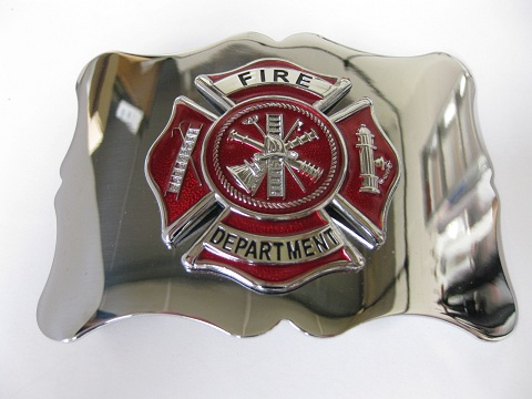 Fire Dept. Red on Chrome Buckle