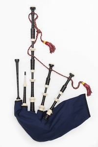 SL3 - MacRae Bagpipes Imitation Ivory Projection Mounts, Ring, Caps, and Ferrules