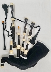 Used Duncan Souter African Blackwood Great Highland Bagpipes with Silver Slides